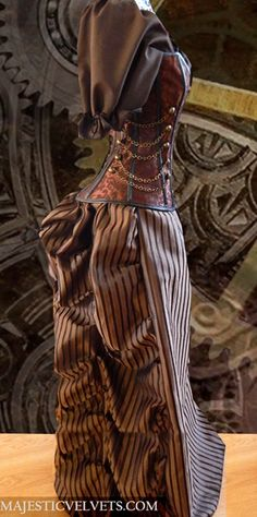 Steampunk Corset with Brown Striped Bustle Skirt