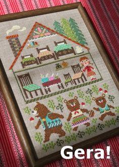 ◆ Gera's cross stitch design ◆The three bears #embroidery #crafts #DIY #sewing #house #zakka