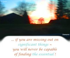 ... if you are missing out on #significant_things ~ you will never be capable of finding #the_essential ! ( #Samara )