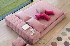 Cotton Candy Pink: Squaring Isola Alto tatami platform bed by Giuseppe Vagano for Bonaldo