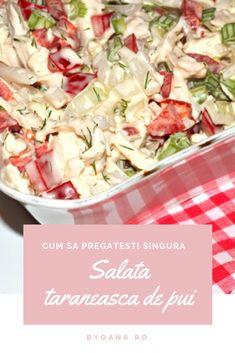 Salata taraneasca de pui #reteta #salata Potato Salad, Salad Recipes, Cabbage, Salads, Potatoes, Vegetables, Ethnic Recipes, Food, Recipes For Salads