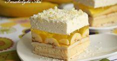 Ciasto jest bardzo orzeźwiające. Banany świetnie komponują się smakowo z masą kokosową, galaretką i bitą śmietaną. Jest doskonałą propozycj... Krispie Treats, Rice Krispies, Cheesecake, Food, Cheesecake Cake, Cheesecakes, Hoods, Meals, Rice Krispie Treats