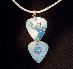 Mr. Freeze Double Guitar Pick and White Rolled Cord Necklace by ItsYourPick on Etsy