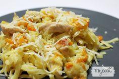 Tallarines con verduras y pollo - http://www.mycookrecetas.com/tallarines-con-verduras-y-pollo/