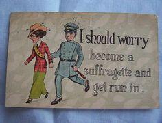 SUFFRAGETTE 1915 postcard Woman voter & policeman Syracuse Nebraska