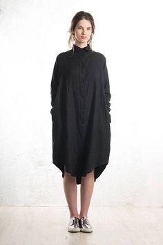 Sort skjorte kjole Løst pasform med lommer og lange ærmer Hør krøller -men det er luksus folder/krøller ❤️ Shirtdress black linen