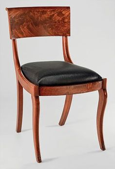 Duncan Phyfe (1770–1854), Grecian side chair, 1834. Mahogany veneer, mahogany; secondary woods: ash, cherry or maple. H. 32-1/2, W 18 D 22 in.