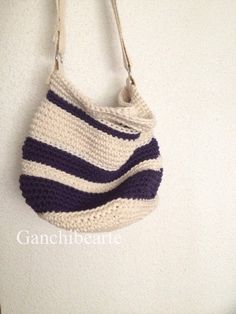 Bolso a crochet con Katia Cotton Cord. Free pattern by @bearte