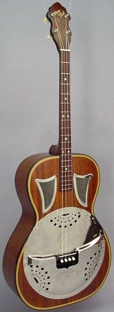 frettedchordophones:  Slingerland May Bell Resonator Tenor Guitar  =Lardys Chordophone of the day - a year ago --- https://www.pinterest.com/lardyfatboy/