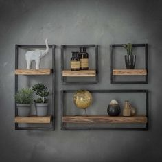 Combined wall shelf Edge Kombi Wandregal Edge I The combi wall shelf Edge consists of several individual wall shelves. The shelves consist of a shelf made of solid acacia wood and a … - Modern Floating Shelves, Home Decor Shelves, Regal Design, Grey Home Decor, Modern Wall Decor, Wood Wall Shelf, Unique Wall Shelves, Shelves For Walls, Wall Shelf Decor