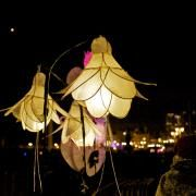 Lanterns are made from tissue paper and willow cane.