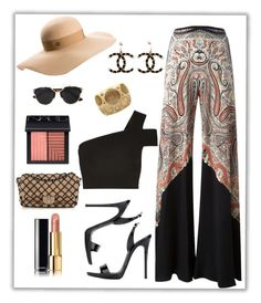 """""""Summer #33 - """"Palazzo Pants"""""""" by sammers-i ❤ liked on Polyvore featuring Etro, TIBI, Christian Dior, Giuseppe Zanotti, Chanel, NARS Cosmetics and Maison Michel"""