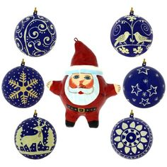 Cherish this festive season with this set of decorative paper maches. Each of the six balls is 3 inches in diameter, making it just perfect to attract attention without grabbing all the attention. The balls are blue in color and there is one paper mache in the shape of Santa Claus that is 5 inches long.