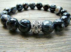 Gemstone Bracelet, Black Agate Gemstone, Beaded Bracelet, Stretch Bracelet, Clear Rhinestone, Stacking Bracelet by BeJeweledByCandi, $36.00
