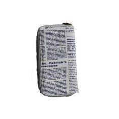 GREY LARGE PURSE WITH NEWSPAPER DESIGN & WINDMILL DETAIL ON THE FRONT