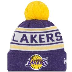 Men's Los Angeles Lakers New Era Purple Toasty Cover Cuffed Knit Hat with Pom