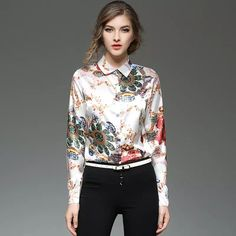 a5034a326b729 2018 Silk Women Shirts Long Sleeved Fashion Printing Woman Blouse Casual  Slim Fit Office Elegant 2017 Spring New Lady Shirt From Sinofashion