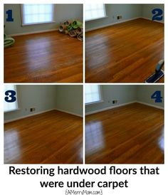 Diy hardwood floor refinish our home pinterest floor restoring hardwood floors that were hidden under carpet without sanding and refinishing the wood solutioingenieria Image collections