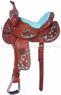 Pozzi Pro Barrel Racer with chestnut leather & star & Pozzi floral pattern featuring a turquoise elephant seat.