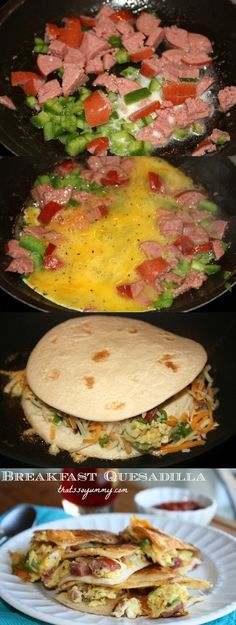 Breakfast Quesadillas - can use ground turkey sausage and whole wheat tortillas