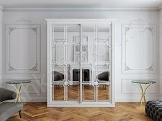Даже такой массивный предмет мебели, как шкаф, выполненный в белом цвете, не будет перегружать пространство. Пастельный цвет стен и светлый шкаф-купе создадут атмосферу воздушности и легкости в интерьере.