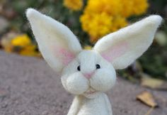 Needle Felted White Bunny Rabbit by TheWoollyPear on Etsy