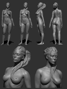 ZBrush study, female nude | Gordon-V's sketchbook, Page 27 | Life-sized paper model version: http://www.pinterest.com/pin/187603140702130646/