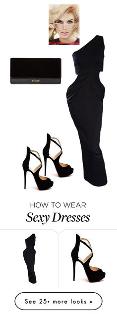"""""""Eve"""" by tinaground on Polyvore featuring Vintage One, Christian Louboutin and Balmain"""
