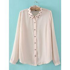 White Studded Embellished Lapel Long Sleeve Chiffon Blouse ($30) ❤ liked on Polyvore