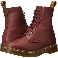 Dr. Martens Pascal 8-Eye Boot (Cherry Red Virginia) Women's Lace-up... ($135) ❤ liked on Polyvore featuring shoes, boots, ankle boots, leather bootie, short lace up boots, genuine leather boots and leather upper boots