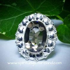 Smoky Quartz Gemstone Crystal 925 Silver Ring