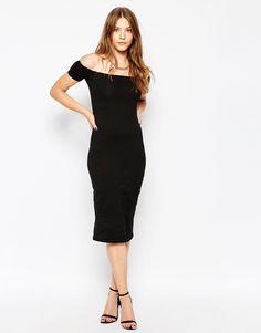 Image 1 ofMotel Dita Off The Shoulder Dress in Black