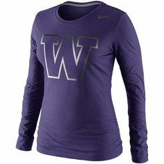 Nike Washington Huskies Ladies Seasonal Logo Tri-Blend Long Sleeve T-Shirt - Purple Team Gear, College Outfits, College Apparel, Long Sleeve Tees, Washington University, Clothes For Women, College Life, Nike, Workout Gear
