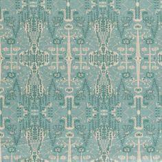 Bombay Mist Blue Cotton Ikat Print Drapery Fabric. $19.95 per yard.