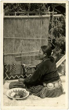 Navajo weaver with basket