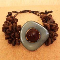 Macrame Bracelet - Coffee Jewelry - Coffee Bean Jewelry - Chunky Bracelet - Coffee Lovers Gift - One Size Fits All Adjustable Bracelet 2330