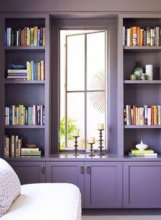 Wooden mauve library decor