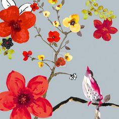 Sandra Jacobs SPRING BLOSSOM BIRDS I designer print, PAPER OR CANVAS