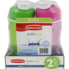 Rubbermaid 14 oz. ReUsable Refillable Water Bottle (1 Pack of 2 - Pink  Green) * This is an Amazon Affiliate link. Check out this great product.
