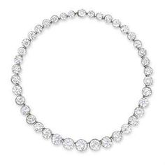 AN IMPORTANT DIAMOND RIVIÈRE   COMPOSED OF FORTY GRADUATED OLD EUROPEAN-CUT DIAMONDS, MOUNTED IN SILVER AND GOLD, 41.5 CM LONG