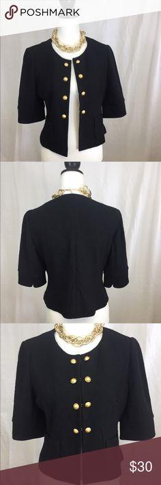 New Ann Taylor loft blazer Beautiful new Loft short sleeve blazer. Gorgeous gold buttons and hook closure. Wool blend. Size Medium. No flaws. LOFT Jackets & Coats Blazers