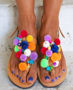 "Pom Pom sandals/ T-strap sandals/ boho sandals/ boho flats/ Handmade leather sandals/ Decorated Sandals/ colourful sandals "" EUPHORIA"""