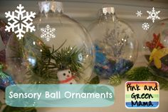 Pink and Green Mama: Sensory Ball Christmas Ornaments Inspired By Sensory Boxes!