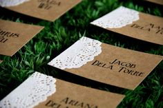 rustic wedding Place Card, Maybe in coral with Gray lace