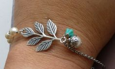 Antiqued Silver Branch Bracelet with Cream by tinycottagetreasures, matching bracelet to earrings and necklace
