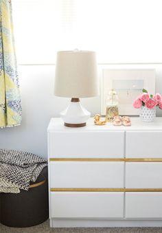 How To Incorporate Ikea Malm Dresser Into Your Decor Malm Dresser, Guest Room Office, Decor, Diy Furniture, Dresser As Nightstand, Ikea Furniture, Gold Dresser, Home Decor, Ikea