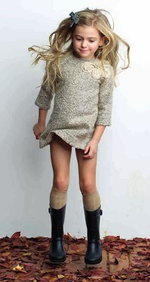 Cute dress if it was a little longer. Love the boots and socks!