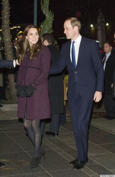 Kate looked radiant as ever in a burgundy coat by Seraphine (in NYC, December 2014)