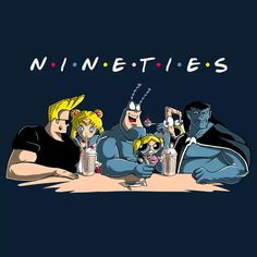 Nineties Friends by Mitch Ludwig - Get Free Worldwide Shipping! This neat design is available on comfy T-shirt (including oversized shirts up to ladies fit and kids shirts), sweatshirts, hoodies, phone cases, and more. Free worldwide shipping available. Johnny Bravo, Gargoyles Cartoon, Classic Cartoons, Animated Cartoons, 90s Kids, Cartoon Wallpaper, Cartoon Art, Pop Culture, Graphic Tees