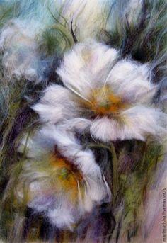 Купить Картина из шерсти Белые Цветы Весны - белый, купить подарок, подарок, цветы